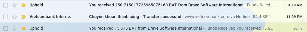 Email thông báo nhận BAT