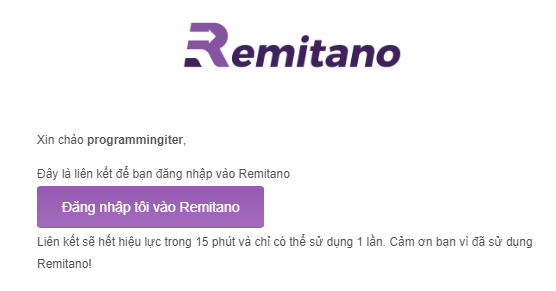 đăng nhập remitano từ email