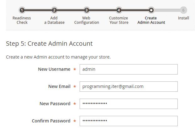 Tạo tài khoản admin