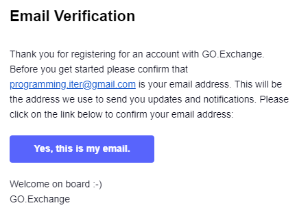 xác thực email go exchange