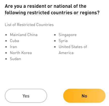 Xác nhận bạn đang ở đất nước không bị cấm