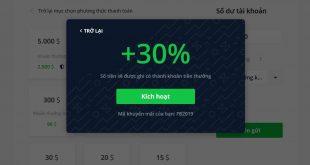 Tặng mã code bonus 30% và 50% khi nạp tiền Olymp Trade