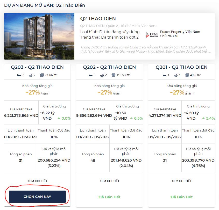 Chọn căn hộ bạn muốn đầu tư trên RealStake