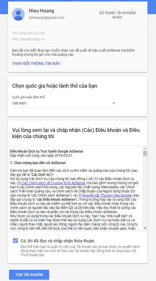 điền thông tin lãnh thổ google adsense - hướng dẫn đăng ký google adsense