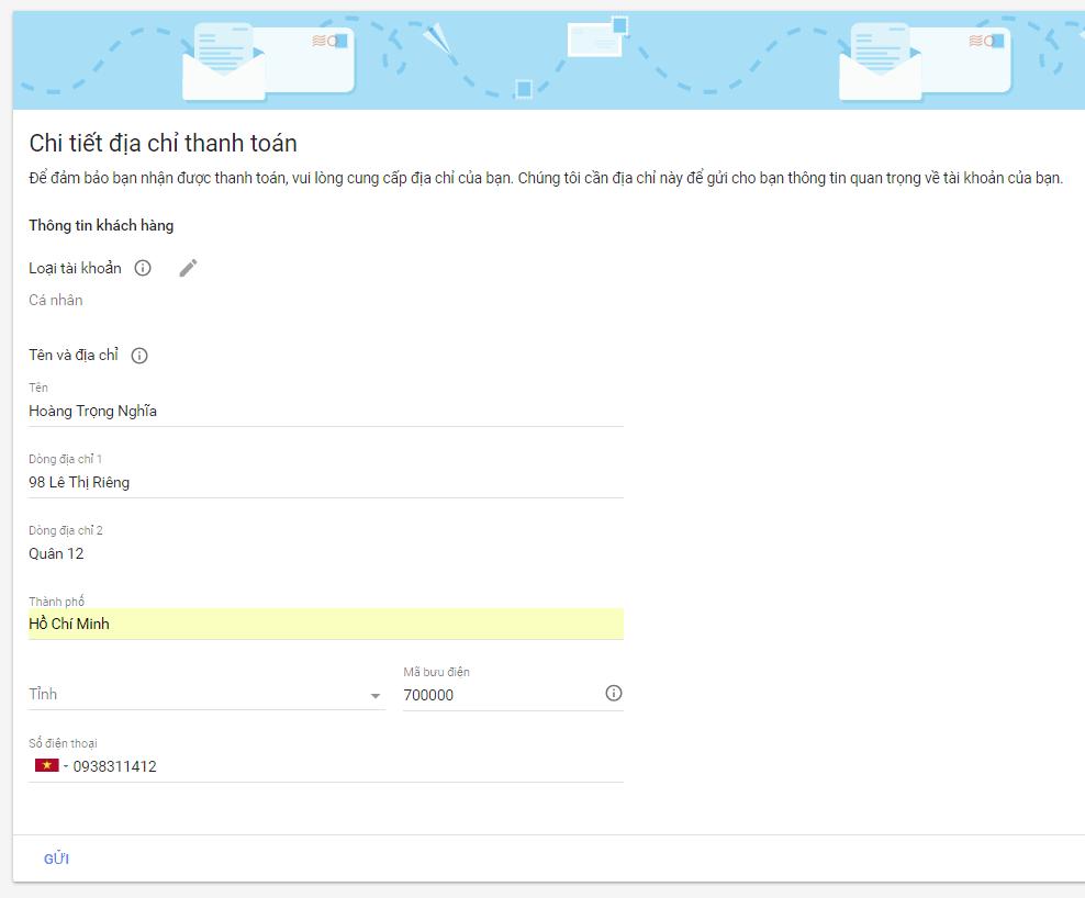 điền địa chỉ thanh toán google adsense