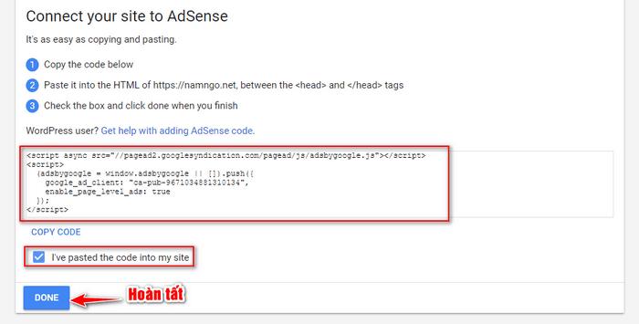 đoạn mã code review google adsense