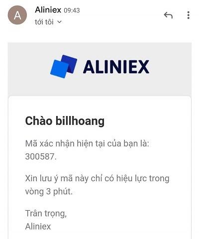 Mã xác nhận được gửi qua email - hướng dẫn bán coin trên aliniex
