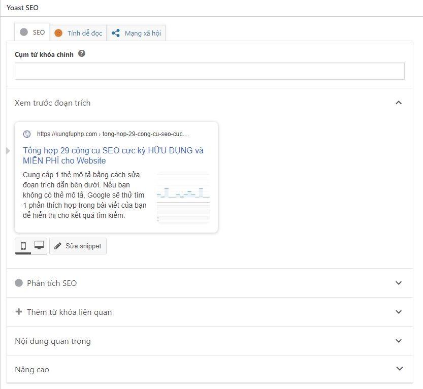 Giao diện Yoast SEO bên dưới mỗi bài viết WordPress Kungfu PHP - Tổng hợp 24 công cụ SEO cực kỳ HỮU DỤNG và MIỄN PHÍ cho Website
