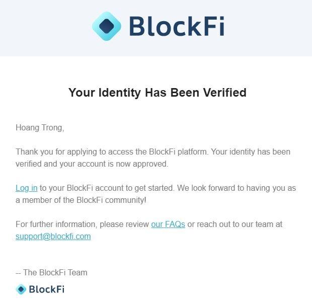 Thông báo xét duyệt hồ sơ BlockFi thành công