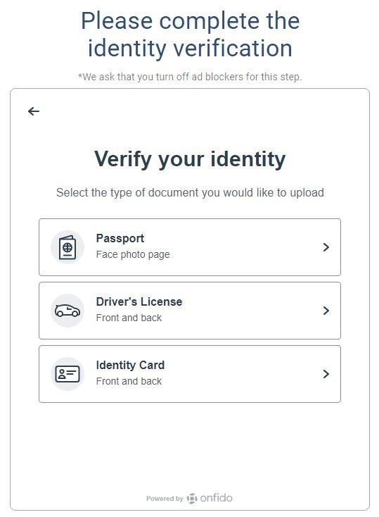 Bước 1 : Chọn loại tài liệu xác thực, Passport, bằng lái xe hoặc chứng minh thư