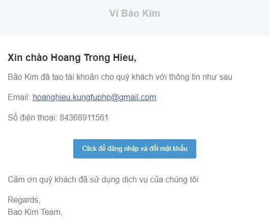 Email thông báo tài khoản Bảo Kim