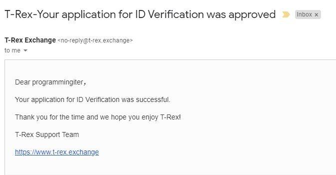 Email thông báo xét duyệt KYC thành công