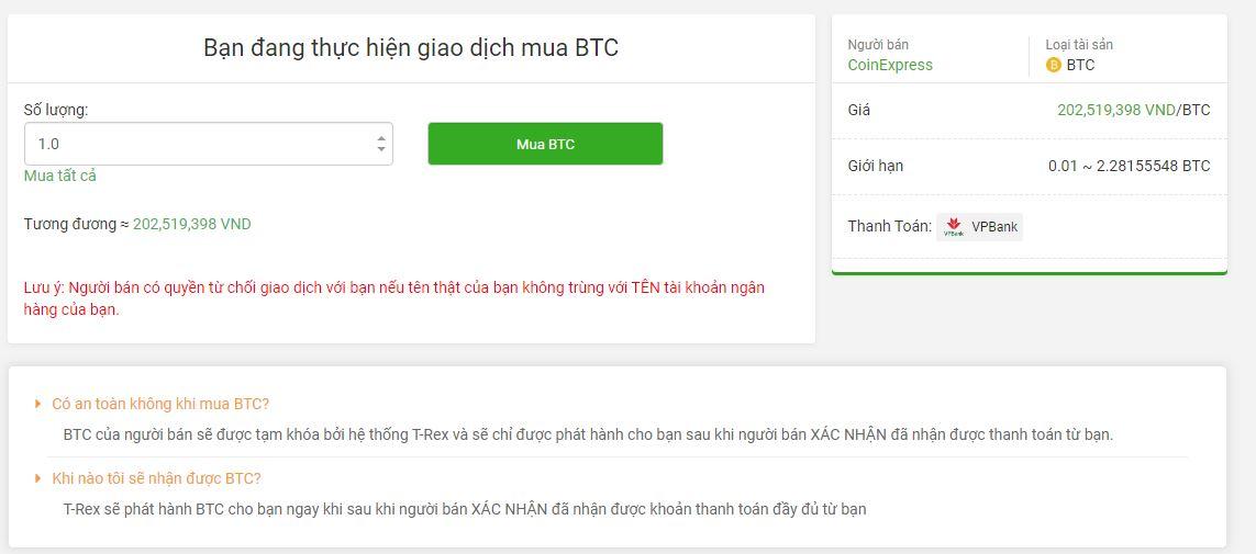 Giao dịch mua BTC - T-Rex là gì