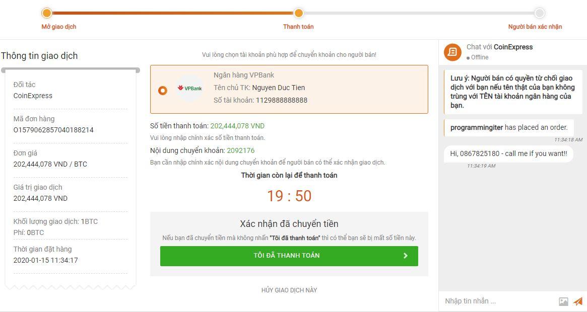 Thông tin chuyển tiền cho người bán Bitcoin