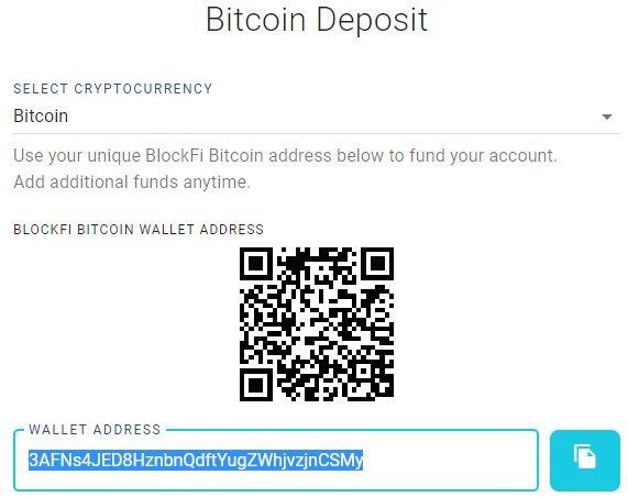 Nạp Bitcoin vào địa chỉ Ví đã cho - blockfi là gì
