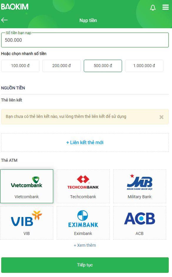 Bước 1: Điền số tiền và thẻ ATM tương ứng rút về