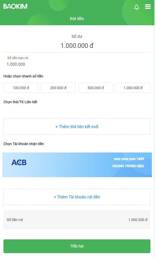 Điền số tiền muốn rút và chọn tài khoản nhận tiền (ở đây là ACB)