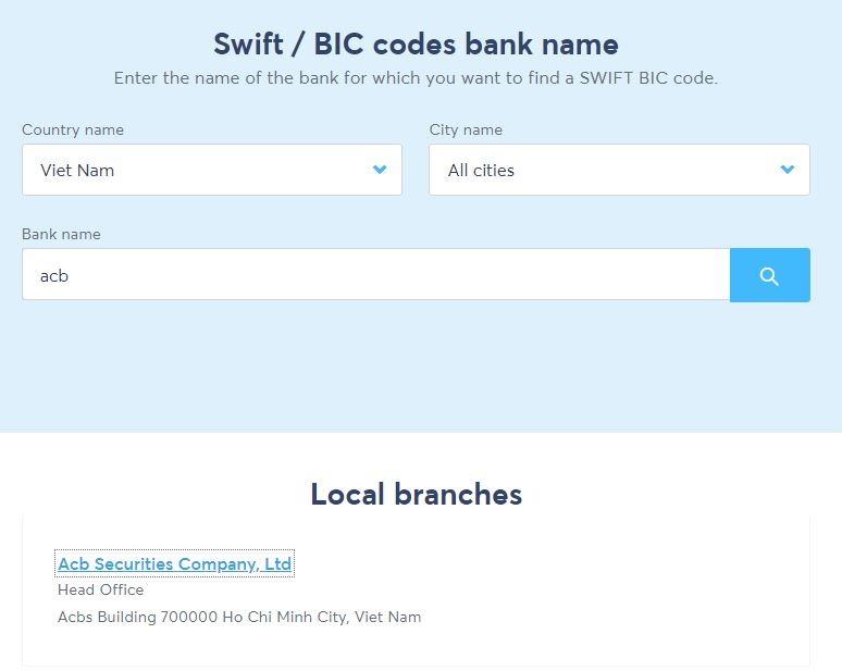 Công cụ tìm kiếm mã swift code