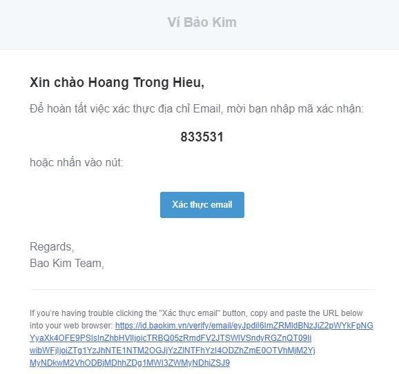 Email xác thực Bảo Kim