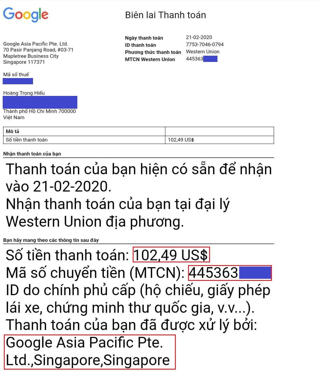 biên lai thanh toán - Hướng dẫn rút tiền Google Adsense qua Western Union trên ACB Online