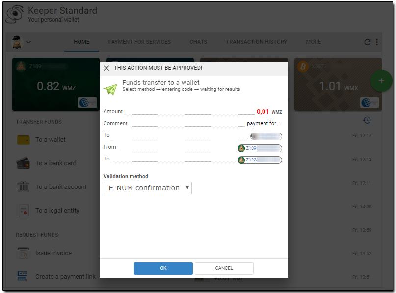 xác thực gửi tiền webmoney