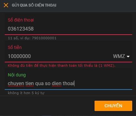 điền thông tin gửi tiền qua số điện thoại webmoney