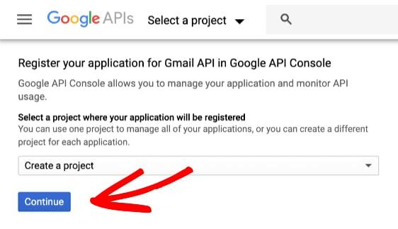 Tạo một dự án mới cho ứng dụng Google - Hướng dẫn cài đặt mail WordPress