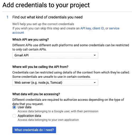 Thêm thông tin đăng nhập vào dự án ứng dụng Gmail