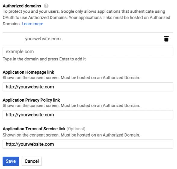 Thêm thông tin tên miền được ủy quyền để Google đồng ý