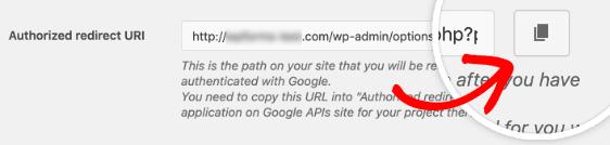 Sử dụng nút để sao chép URI chuyển hướng được ủy quyền từ cài đặt WP Mail SMTP
