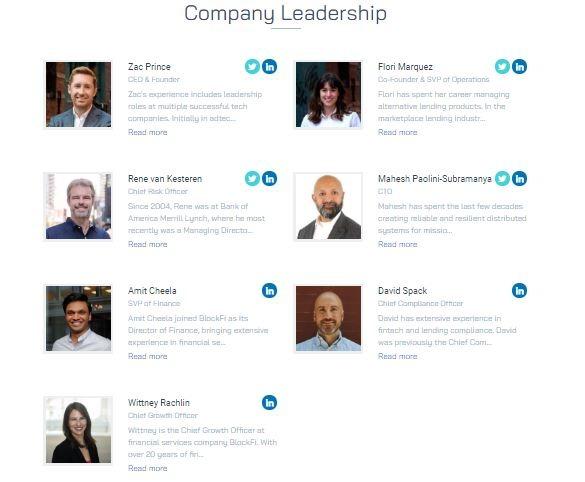 Đội ngũ lãnh đạo của BlockFi - đánh giá blockfi