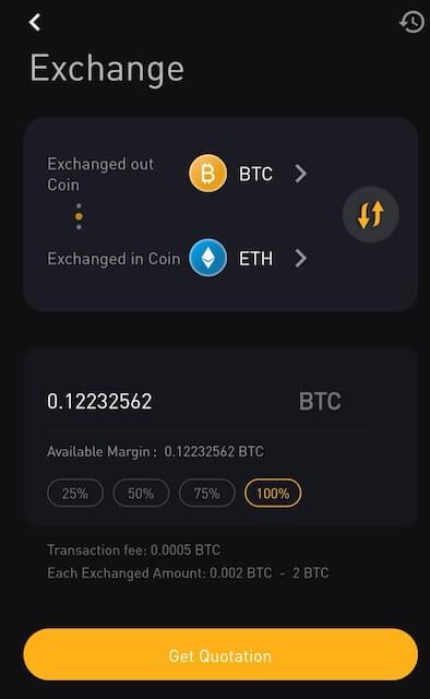 Tính năng đổi tiền của ByBit