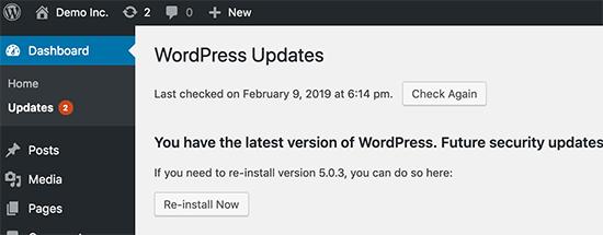 cập nhật wordpress lên phiên bản mới nhất
