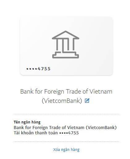 tài khoản ngân hàng đã được liên kết vào paypal