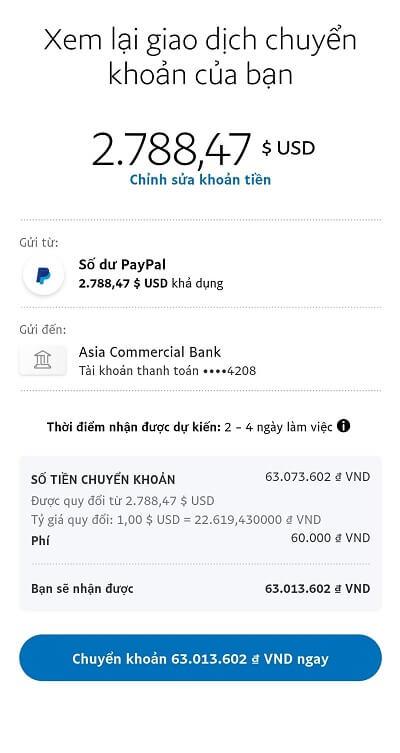 ấn nút Chuyển khoản để rút tiền từ paypal về ngân hàng