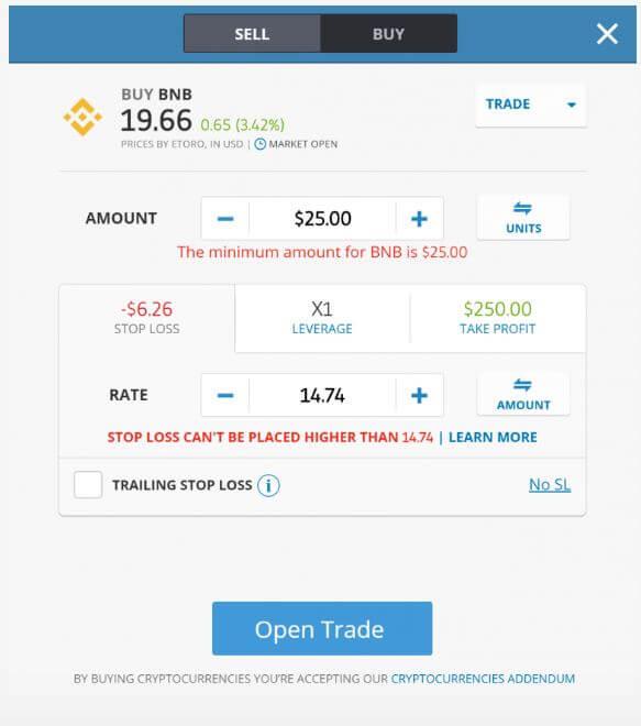Stop Loss - Take Profit - cách mua BNB trên Etoro