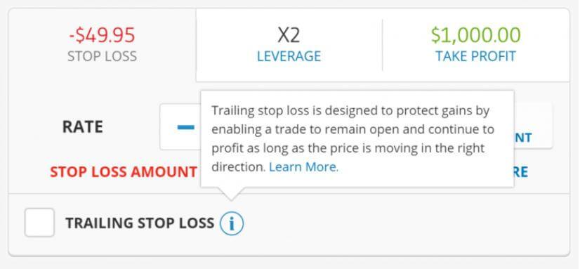 Tùy chọn Trailing Stop Loss.