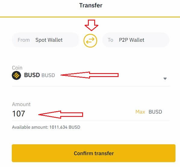 Chuyển coin từ Spot Wallet sang P2P Wallet - hướng dẫn bán coin Binance P2P