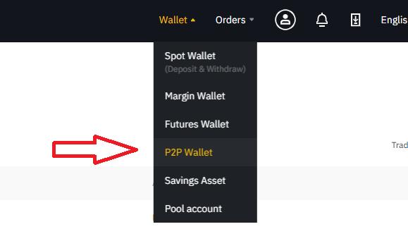 chọn P2P Wallet - hướng dẫn bán coin Binance P2P