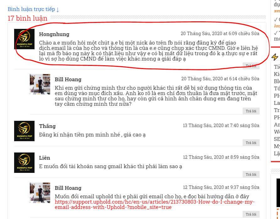 Lời nhắn của một bạn trên website kungfuphp
