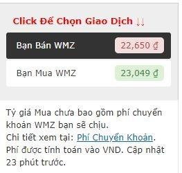 Nhấp vào Bạn Bán WMZ để tiến hành bán Webmoney