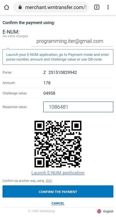 Điền mã xác thực SMS hoặc E-NUM vào