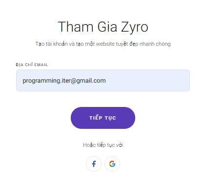 Bước 2 : Điền địa chỉ email đăng ký tk Zyro