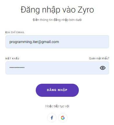 Bước 4 : Đăng nhập vào Zyro bằng tài khoản đã đăng ký