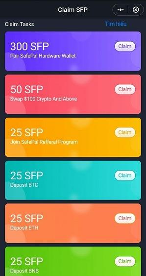 Ở mục Join Safepal Refferal Program, bạn ấn vào Claim rồi điền mã của mình vào để nhận miễn phí 25 token SFP nhé