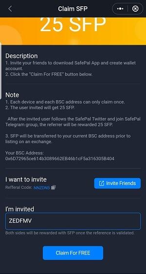 điền mã của mình ZEDFMV vào để nhận miễn phí 25 token SFP