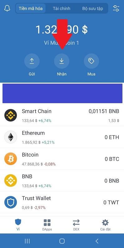 Ấn nút Nhận trên ví Trust Wallet - cách sử dụng binance smart chain