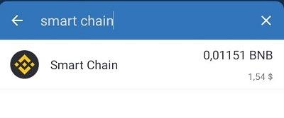 """Gõ từ khóa """"Smart chain"""" để tìm"""