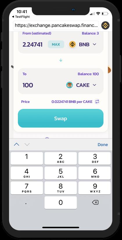 Tiến hành swap đồng BNB sang đồng CAKE