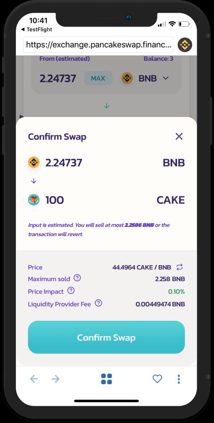 Ấn Confirm Swap để hoàn thành hoán đổi - - hướng dẫn sử dụng PancakeSwap